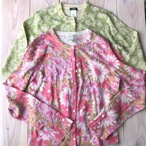 2 Wool Blend Floral Patterned Cardigan Sweaters